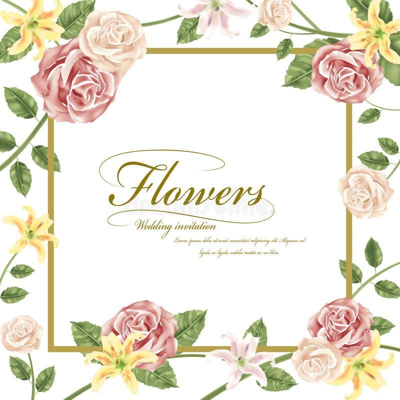 Bevallige bloemenhuwelijksuitnodiging stock illustratie