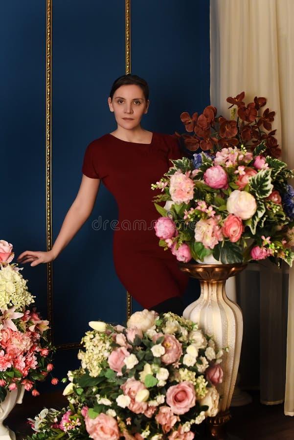 Bevallige jonge donkerbruine vrouw in een rode kleding stock fotografie