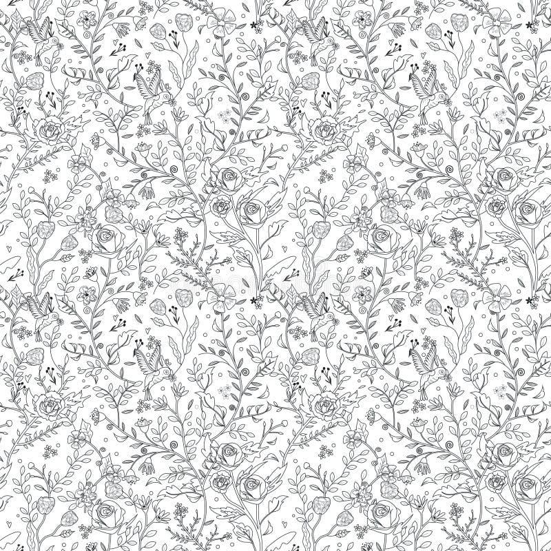 Bevallige naadloze bloemenpatroon kleurende pagina stock illustratie