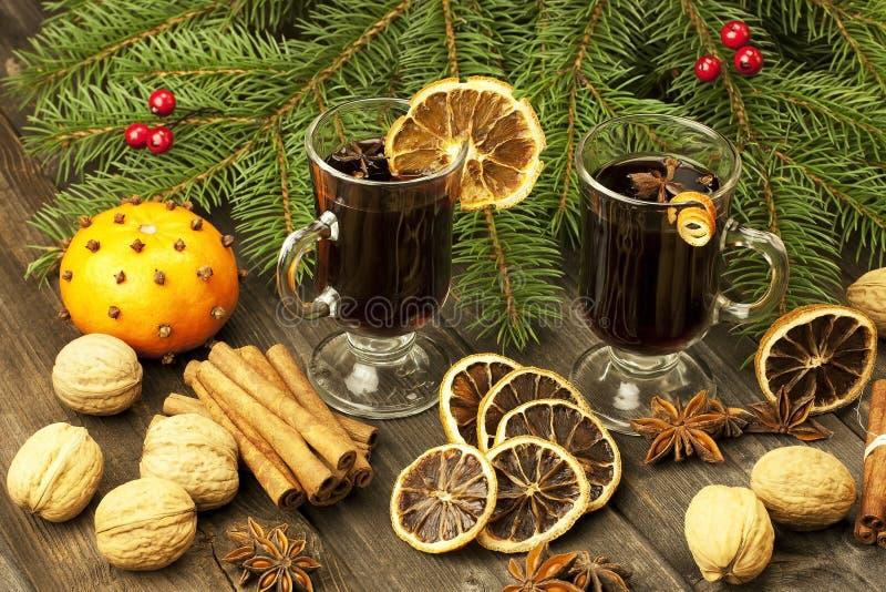 Bevanda calda di Natale in vetro immagine stock libera da diritti