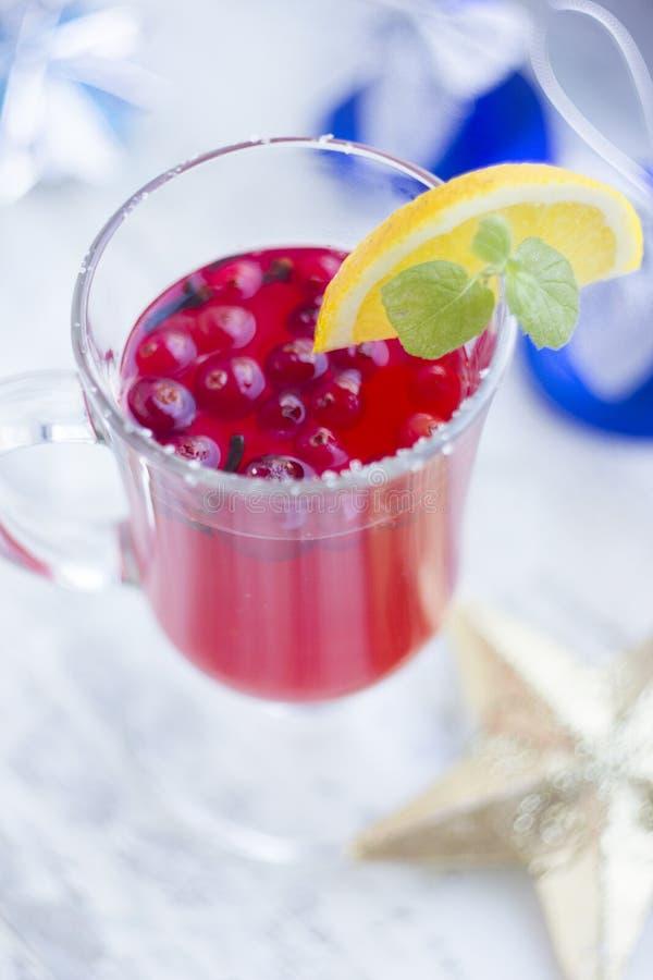 Bevanda casalinga di inverno della bacca con piccante fotografia stock libera da diritti