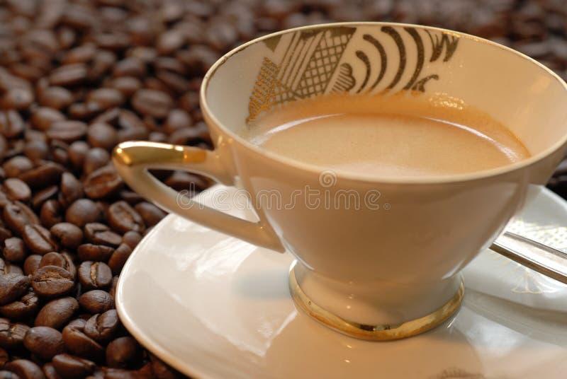 Bevanda del caffè sui fagioli di mocca fotografia stock libera da diritti