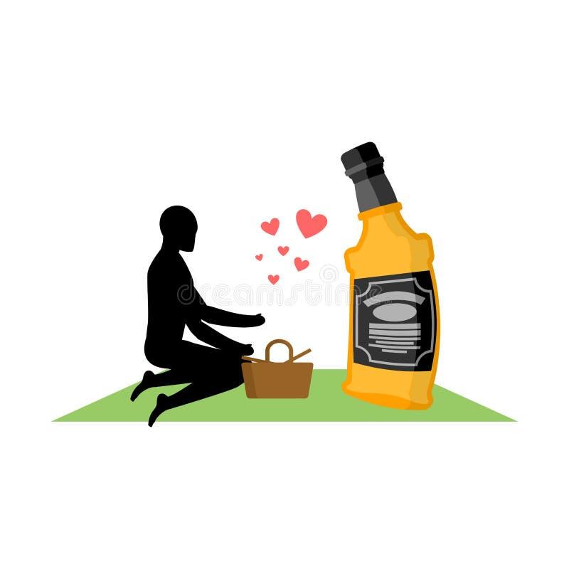 Bevanda dell'alcool dell'amante Uomo e bottiglia di whiskey sul picnic blanke royalty illustrazione gratis