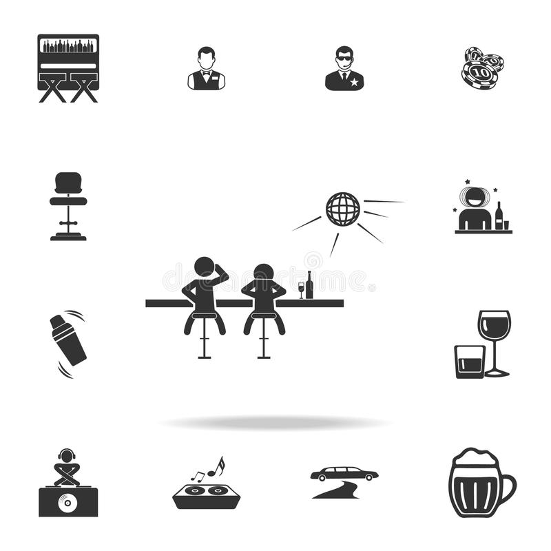 Bevanda della gente sull'icona del contatore della barra Insieme dettagliato delle icone della discoteca e del night-club Progett illustrazione di stock