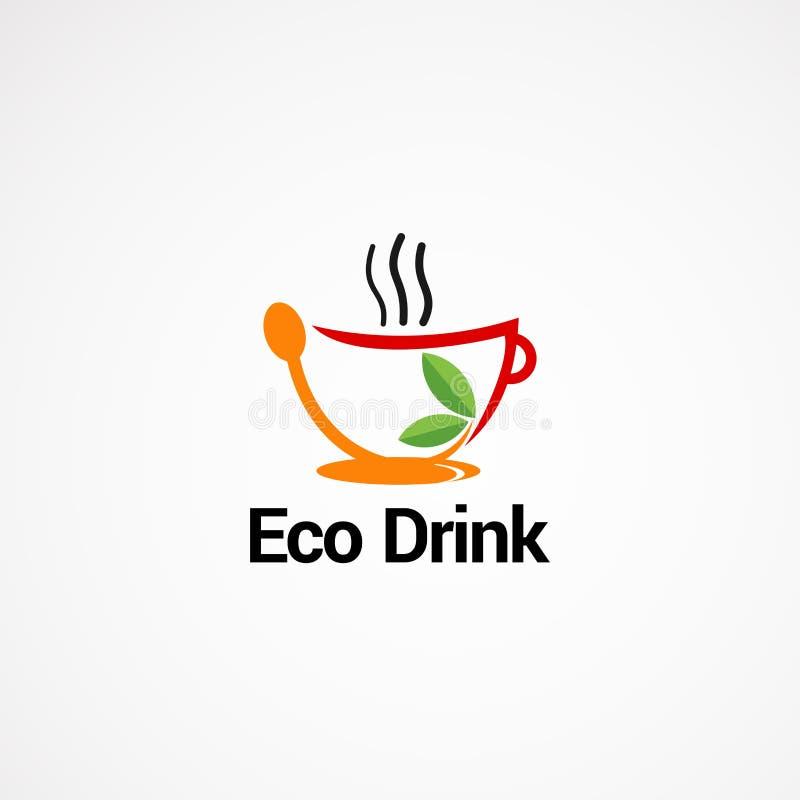 Bevanda di Eco con il vettore, l'icona, l'elemento ed il modello di logo della tazza per la società immagini stock