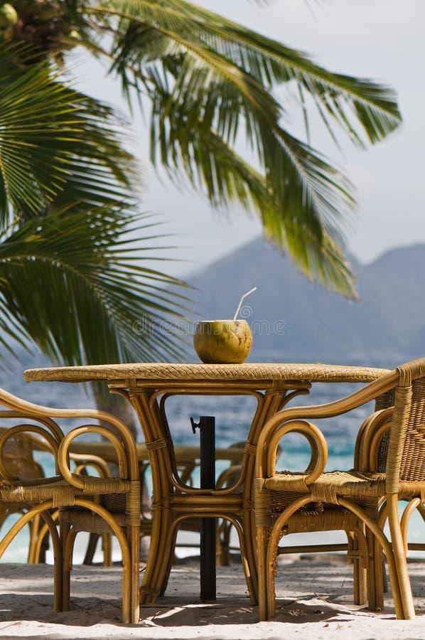 Bevanda di rinfresco della noce di cocco sulla spiaggia fotografia stock libera da diritti