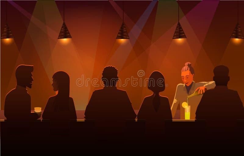 Bevanda di versamento del barista in pub Vector l'illustrazione del pub in pieno della bevanda del servizio del barista e della g illustrazione di stock