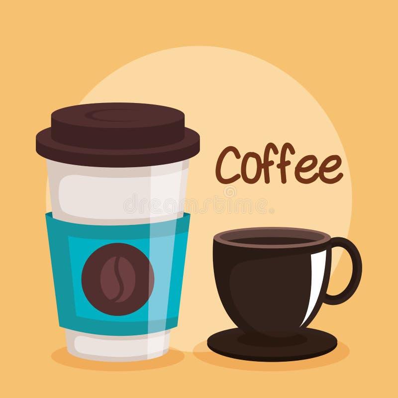 Bevanda eliminabile di variazioni delle tazze di caffè due illustrazione di stock