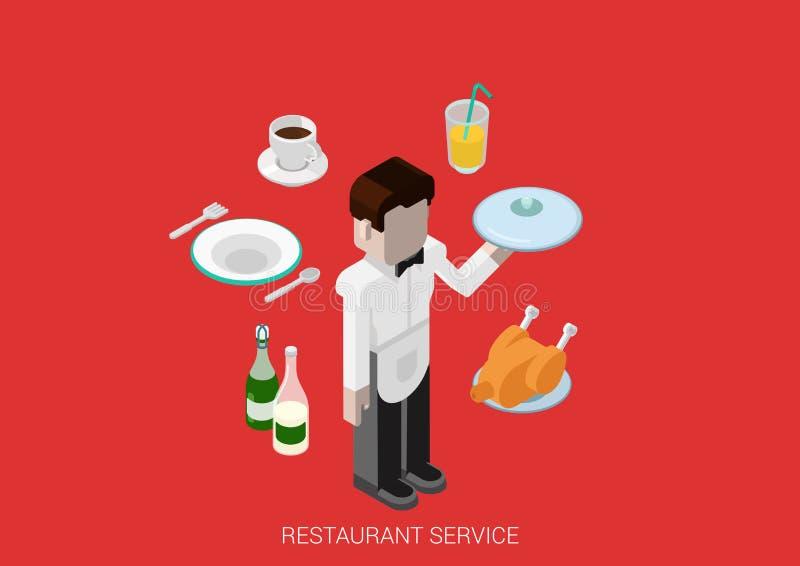 Bevanda isometrica piana dell'alimento del cameriere del ristorante di vettore di concetto 3d illustrazione vettoriale