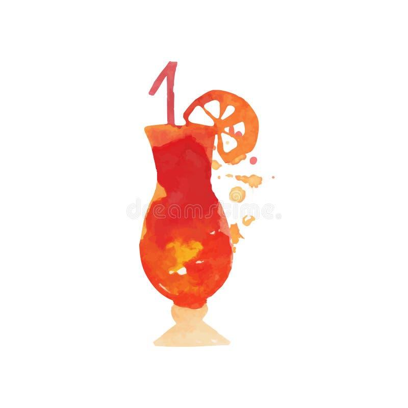 Bevanda mista dell'alcool del cocktail con l'illustrazione disegnata a mano variopinta di vettore dell'acquerello del limone illustrazione di stock