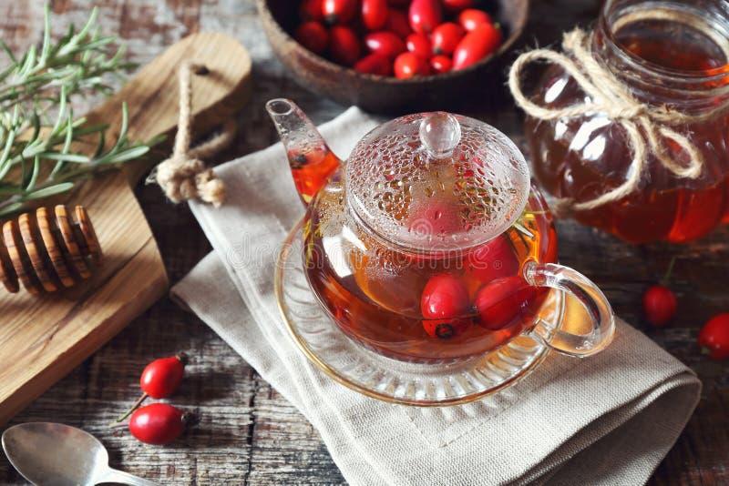 Bevanda sana Tè del cinorrodonte in teiera, rosmarino, miele ed essere fotografia stock libera da diritti