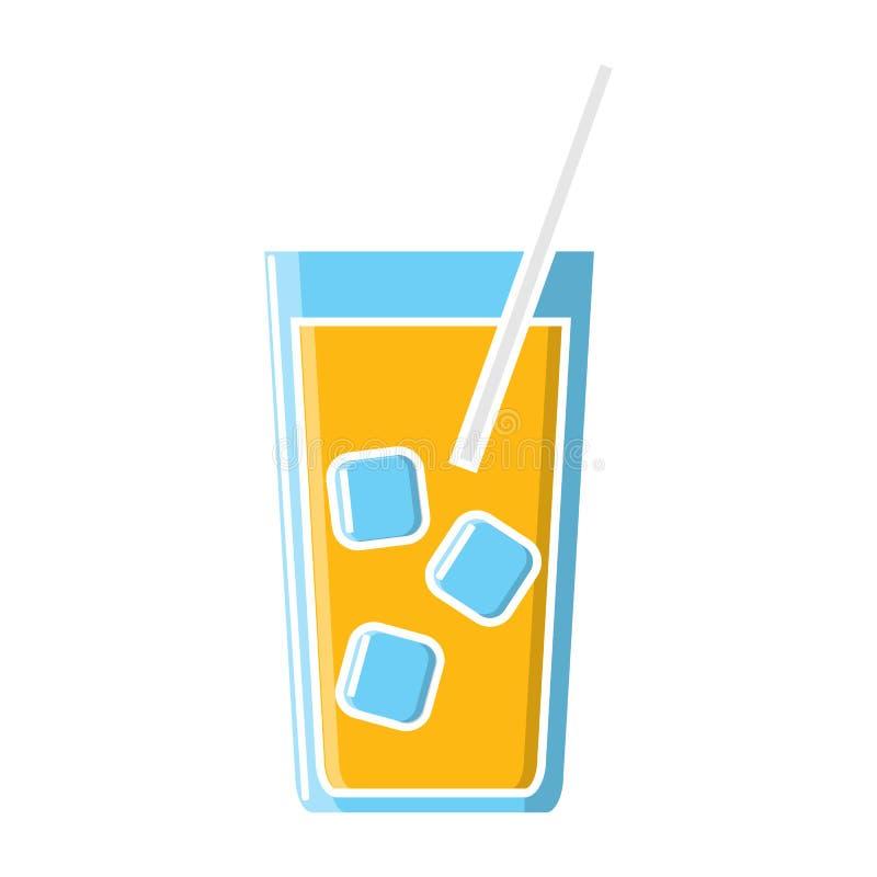 Bevanda succosa deliziosa alcolica del cocktail in un vetro con ghiaccio e un'icona della paglia su un fondo bianco Illustrazione illustrazione di stock