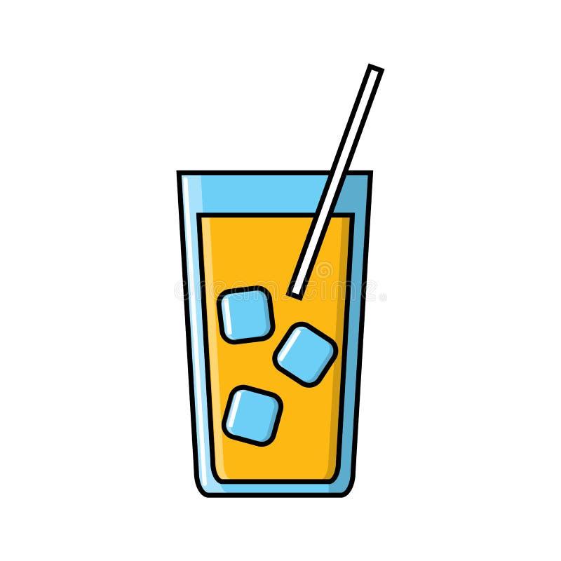 Bevanda succosa deliziosa alcolica del cocktail in un vetro con ghiaccio e un'icona della paglia su un fondo bianco Illustrazione illustrazione vettoriale