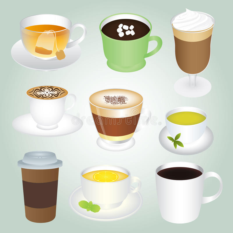 Bevande calde di base messe illustrazione vettoriale