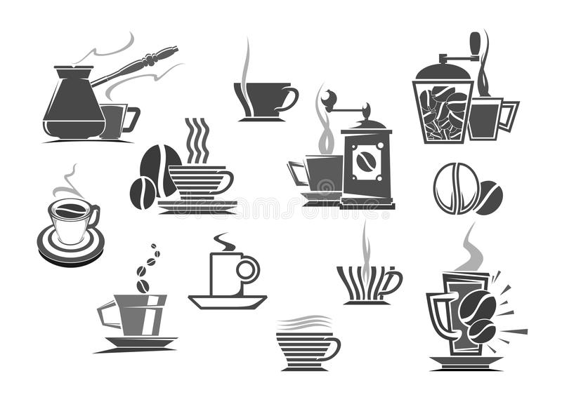 Bevande del caffè ed icone di vettore delle caffettiere illustrazione di stock