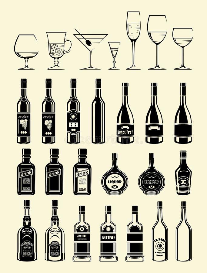Bevande del nero di vettore ed icone delle bevande messe illustrazione vettoriale
