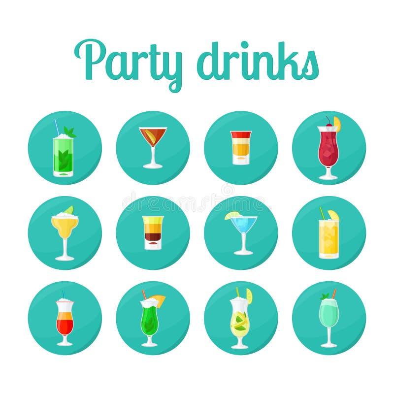 Bevande del partito nelle icone del cerchio royalty illustrazione gratis
