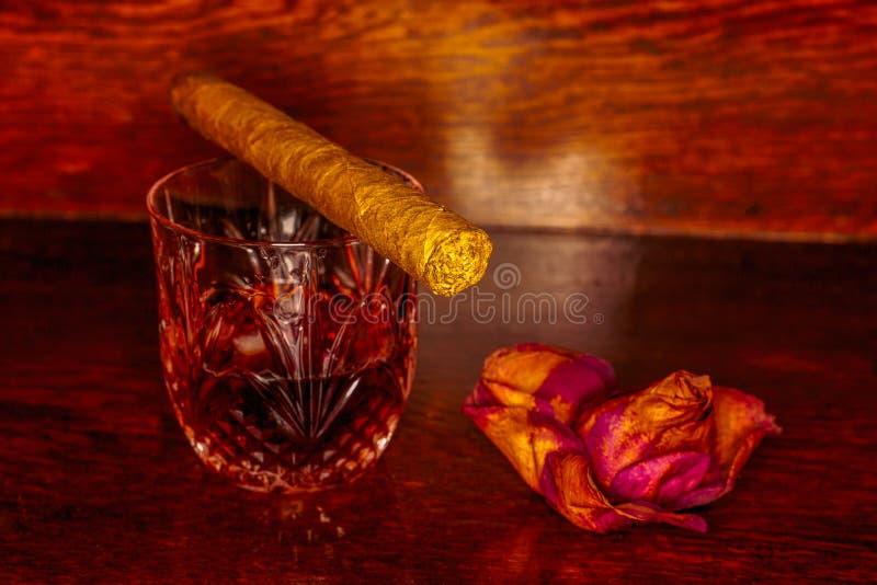 Bevande del whiskey con i sigari su di legno fotografia stock libera da diritti