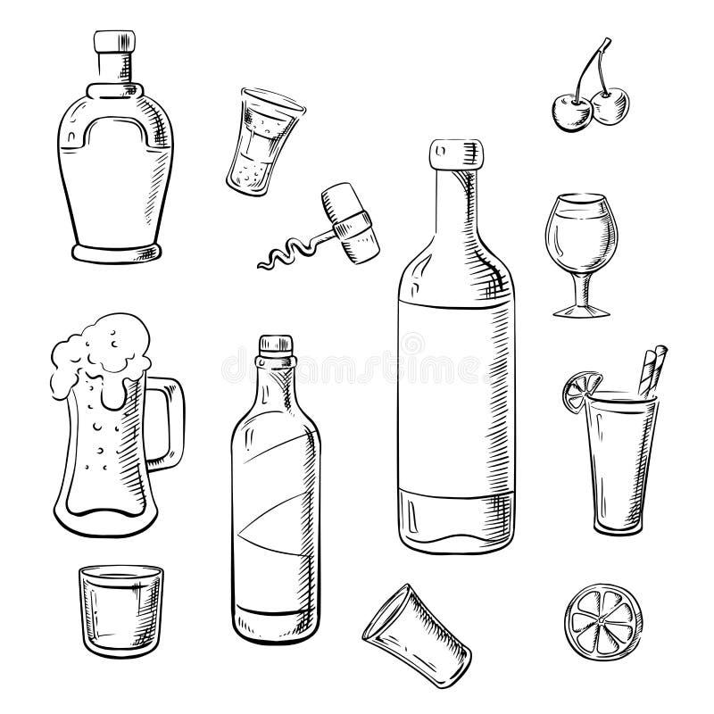 Bevande dell'alcool, bottiglie di vino e cocktail illustrazione di stock