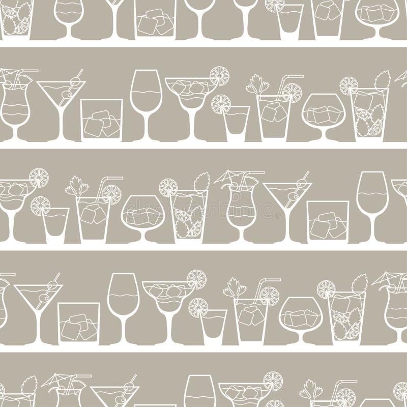 Bevande dell'alcool e modello senza cuciture dei cocktail dentro royalty illustrazione gratis