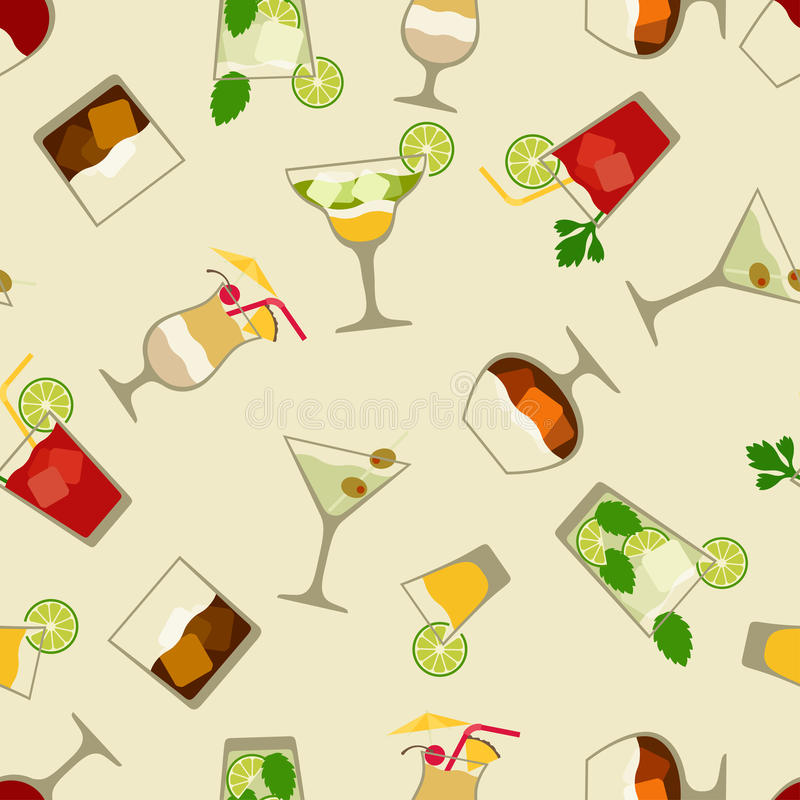 Bevande dell'alcool e modello senza cuciture dei cocktail dentro illustrazione vettoriale