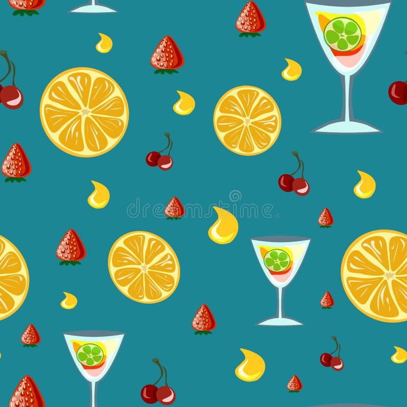 Bevande dell'alcool e modello senza cuciture dei cocktail nello stile piano illustrazione vettoriale