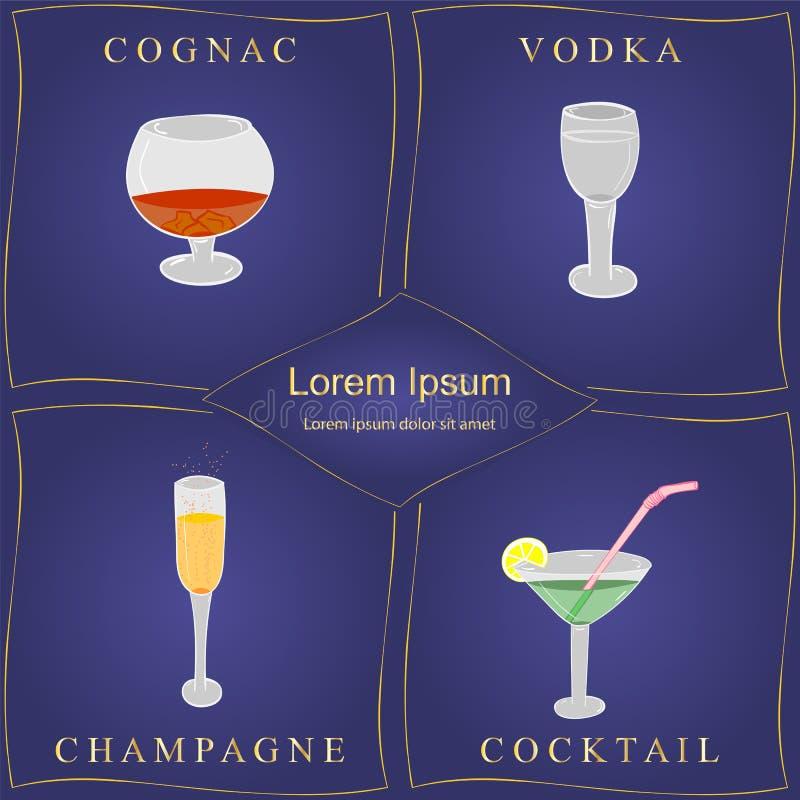 Bevande dell'alcool Insieme dei bicchieri di vino disegnati a mano nei telai dorati sul blu Vetri con il cognac, la vodka, Champa illustrazione di stock