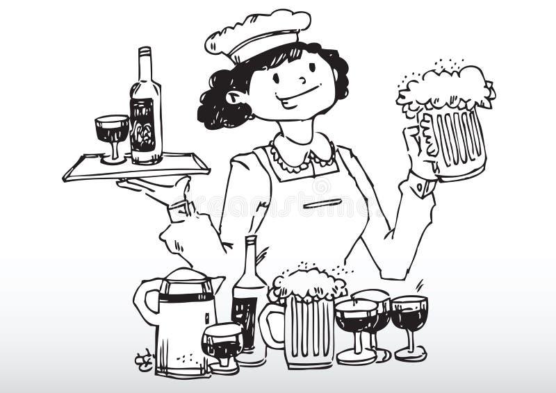 Bevande della barra del servizio della cameriera di bar illustrazione vettoriale