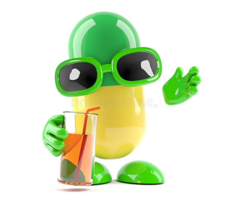 bevande della capsula della medicina 3d al partito illustrazione di stock