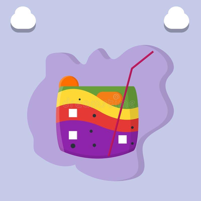 Bevande di frutta variopinte dell'arcobaleno sistemate su ghiaccio sull'illustrazione della pipetta e di vetro - vettore illustrazione di stock