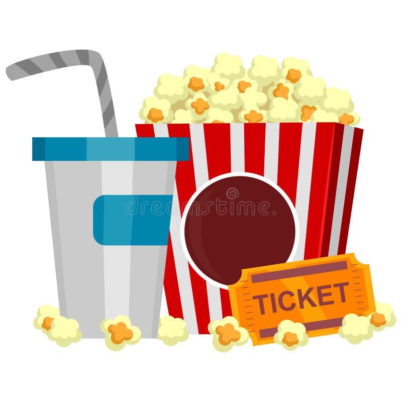 Bevande e biglietto del popcorn illustrazione di stock