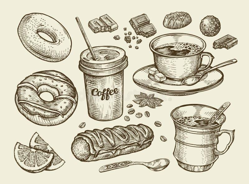 Bevande ed alimento Caffè disegnato a mano, tè, tazza, dessert, caramella, cioccolato, eclair, dolce, ciambella, ciambella Vettor illustrazione di stock
