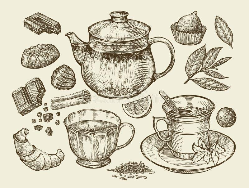 Bevande ed alimento Tè disegnato a mano, caffè, teiera, tazza, cioccolato, caramella, croissant, dessert Illustrazione di vettore illustrazione vettoriale
