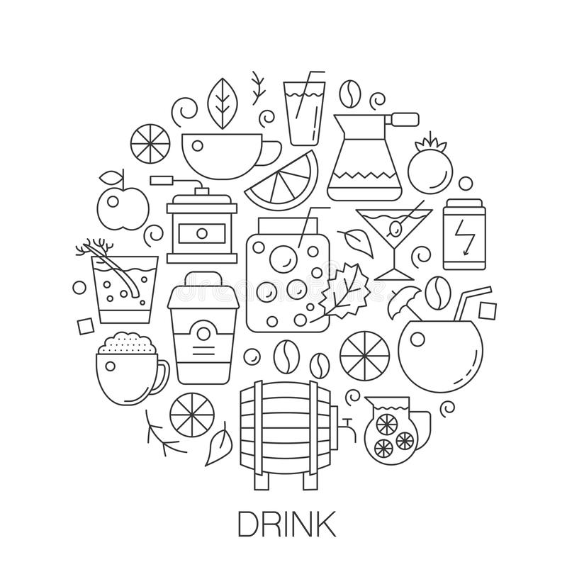 Bevande nel cerchio - illustrazione al tratto di concetto per la copertura, emblema, distintivo Alcool, linea sottile icone del c illustrazione di stock