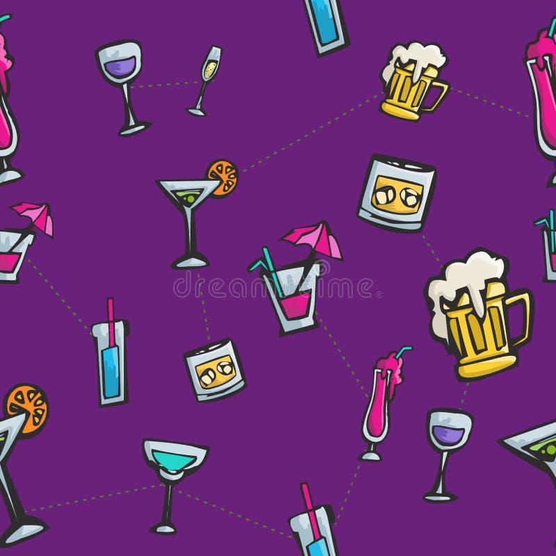 Bevande variopinte e modello senza cuciture dei cocktail illustrazione vettoriale