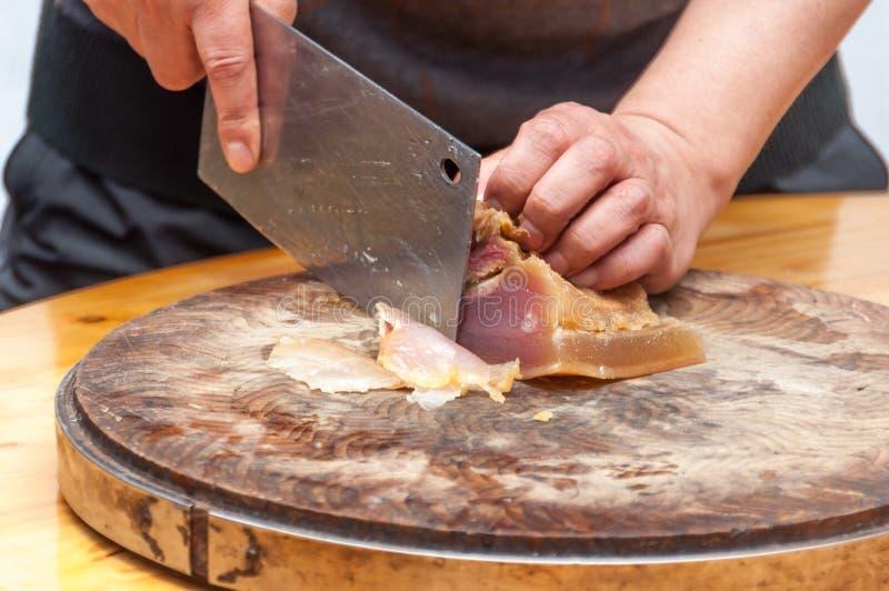 Bevarat kött skivar upp arkivbild