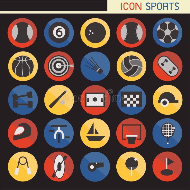 bevat het 25 reeks Vlakke ontwerp, dergelijke Pictogrammenrugby, kegelen, voetbal, basketbal, honkbal, tennis en meer, Elementen  royalty-vrije illustratie