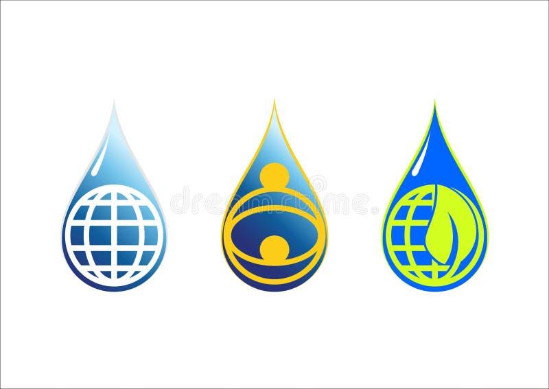 Bevattna droppe & den globala vektorn för symbol för jordlogosymbol royaltyfri illustrationer