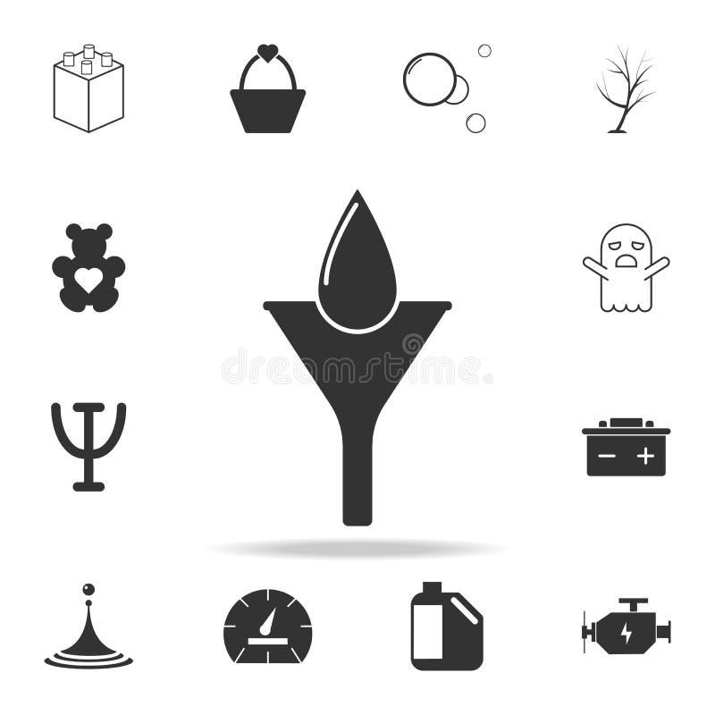 bevattna droppe i filtret, olje- droppsymbol Detaljerad uppsättning av rengöringsduksymboler och tecken Högvärdig grafisk design  stock illustrationer