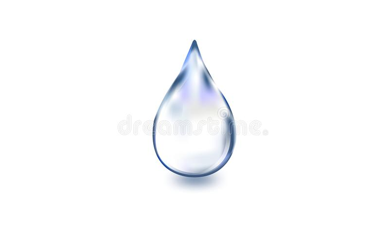Bevattna droppe, realistisk enkel vattendroppe på vit bakgrund, vektorillustration, stock illustrationer