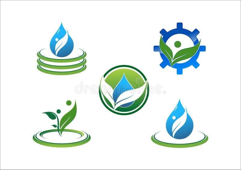 Bevattna droppe, vattenekologi, bladet, cirkeln, anslutning, folket, symbolet, kugghjulvektorlogo vektor illustrationer
