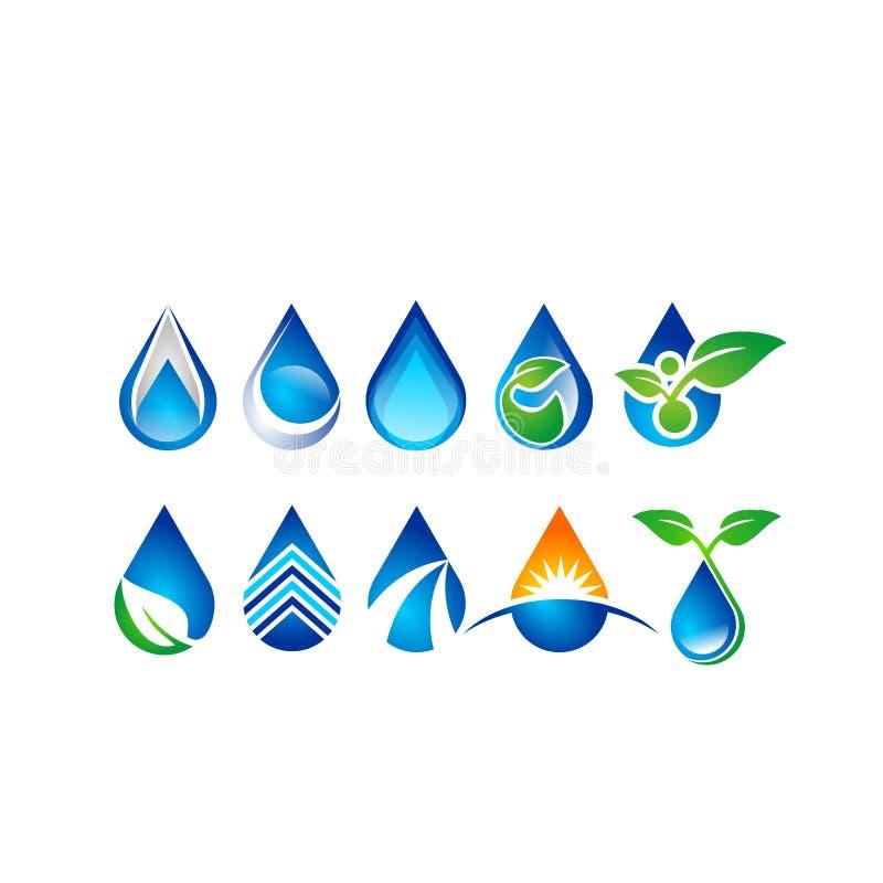Bevattna dropplogoen, uppsättning av symbolen för vattendroppsymbolet, design för vektor för naturdroppbeståndsdelar vektor illustrationer