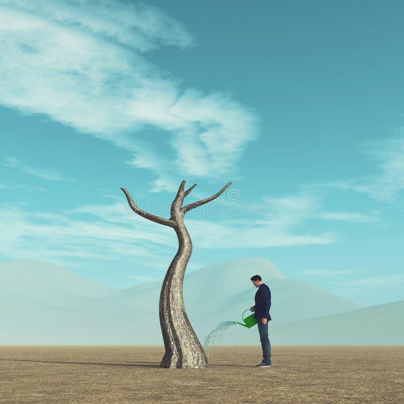 Bevattna ett tr?d royaltyfri illustrationer