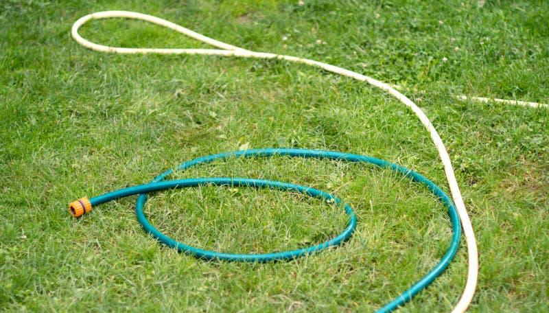 bevattna för slanglawnvatten arkivfoton