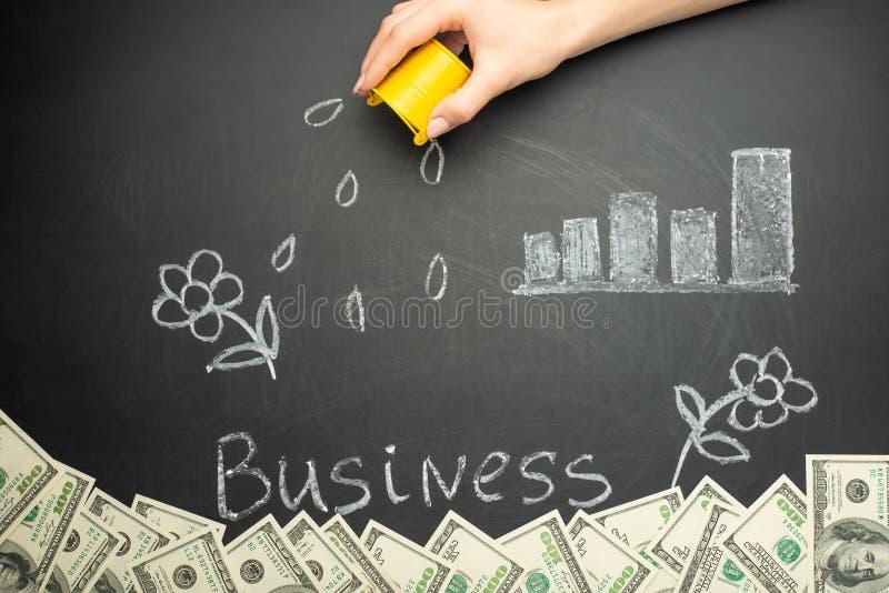 Bevattna och affärsord i ett begreppsbräde för affärstillväxt, investering, besparingar och framställningspengar, många dollar royaltyfri bild