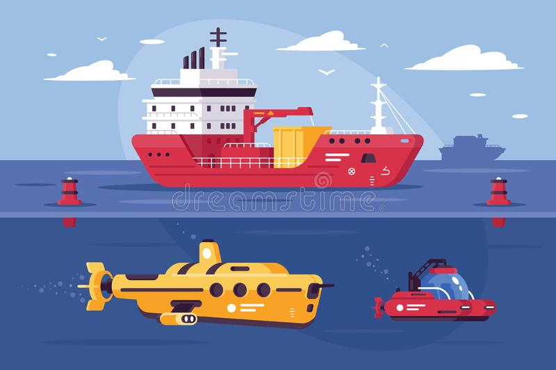 Bevattna transport för vagnen av gods som undersöker havet stock illustrationer