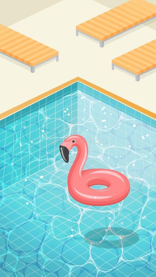 Bevattna yttersida med krusningar och flamingosimningcirkeln stock illustrationer