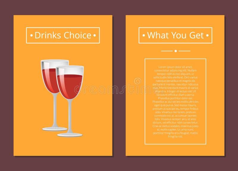 Beve la scelta che cosa ottenete a copertura a vetri del vino rosso illustrazione di stock