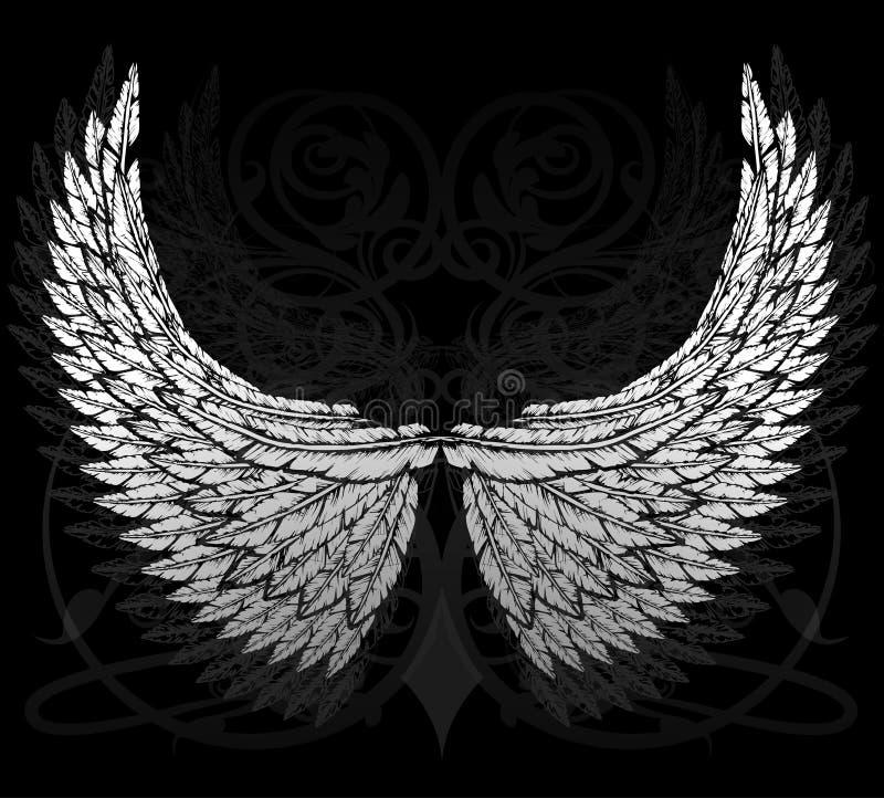Bevederde vleugels vector illustratie