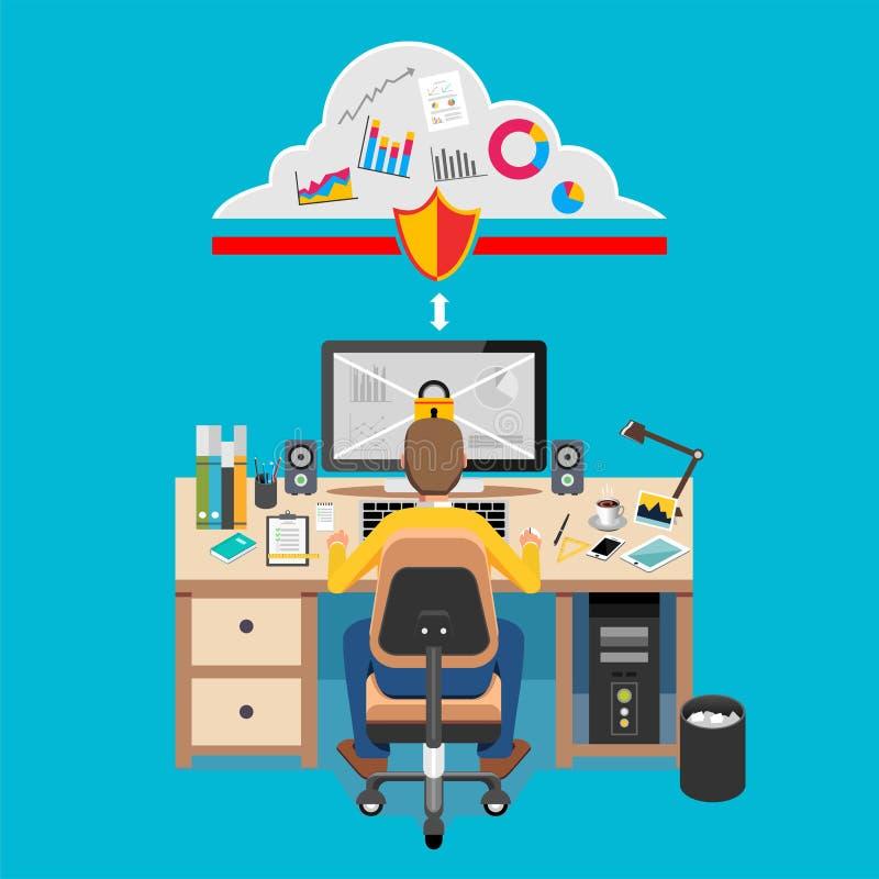 Beveilig de Toegang van Internet Gegevensbescherming of Internet-veiligheidsconcept stock illustratie